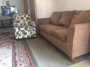 Couch and chair nothing wrong and no rips and no bugs and comfortable and no pets or smoke for Sale in Hilliard, OH