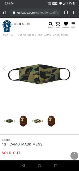 DS Brand New BAPE BATHING APE Full 1st Camo Face Mask Green for Sale in MONTGOMRY VLG, MD