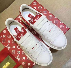 New LV X Supreme casual fashion women Leather tops shoes white red in stock with box Size 39 US 8 for Sale in Washington, DC