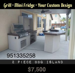 BBQ Island with Grill and Mini Fridge for Sale in Riverside, CA