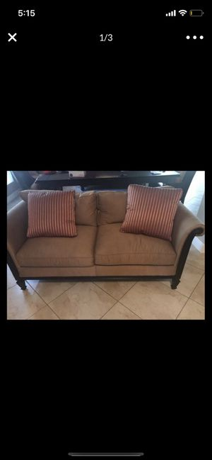 Set of two couches ($100 each) real wood- brings pillows too for Sale in Coral Gables, FL