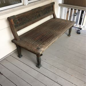 Teak Lounge Bench Indonesian Temple Top for Sale in Washington, DC