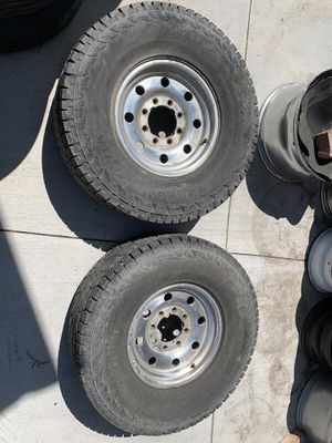 Pair LT 305 70 16 hankook dynapro atm tires with 8 lug rims for Sale in Aurora, CO