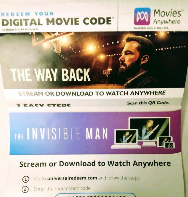 6 Digital Movie Download Codes