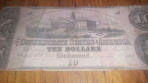 1862 confederate 10 dollar bill for Sale in Saint Joseph, MO