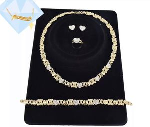 Teddy bear heart-shaped diamond 18k Gold plated jewelry set necklace bracelet earring and a ring for Sale in Auburndale, FL