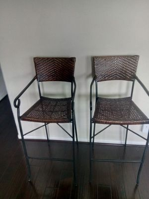 Selling 4 Bam boo Rot- Iron Bar Stools $175 for Sale in Stafford, TX