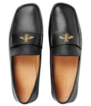 Gucci leather drivers with bee loafers black 5 1/2 for Sale in San Diego, CA