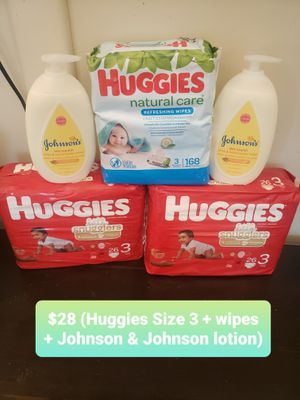 Huggies Pampers and Wipes Bundle with Johnson & Johnson Lotion for Sale in Williamsburg, VA