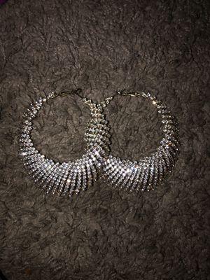 Gold diamond hoop earrings for Sale in Kent, WA