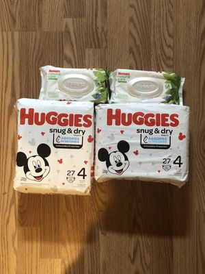 2 packs of Huggies Size 4 and Wipes for Sale in Duluth, GA