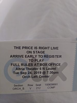 1 Ticket to the price is right for Sale in Richmond, VA