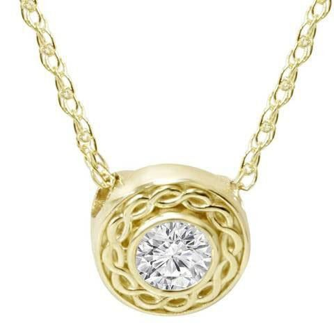 Necklace Pendant With Chain 1.00 Carats G Vs2 Diamond Yellow Gold 14K New