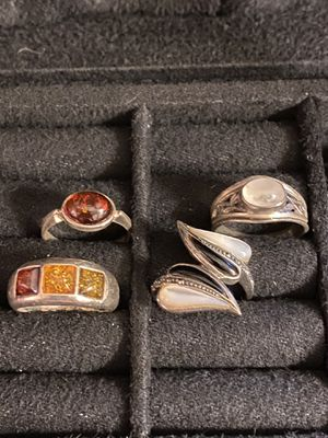 Silver Amber Moonstone Oynx Rings Size 5-1/2, 6, 7 for Sale in Auburn, WA