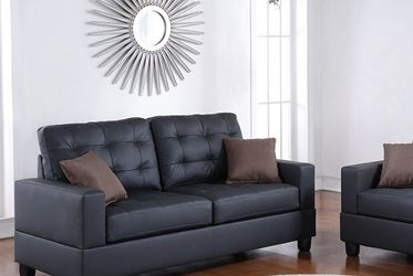 2-PC Love Seat Black Couch for Sale in Sylmar,  CA