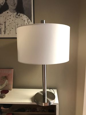 Lamp with White Drum-Shaped Shade (Great for bedside table, couch table, etc.) for Sale in San Francisco, CA