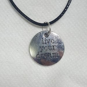 """Live you dream Silver plated Necklace. Charm pendant Comes with 18"""" in long Leather Code Beautiful Necklaces for Sale in Queens, NY"""