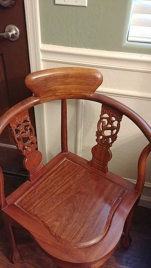 Pair of Asian Vintage Rosewood Corner Chairs for Sale in Phoenix, AZ
