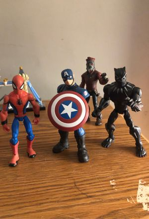 Disney Marvel Toy Box- Black Panther, Spider-Man, Captain America, Star Lord for Sale in Los Angeles, CA
