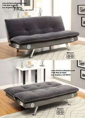 Grey Bluetooth speakers adjustable futon sofa bed couch for Sale in Downey, CA