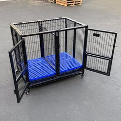 """New $140 Folding Dog Cage 37x25x33"""" Heavy Duty Double-Door Kennel w/ Divider, Plastic Tray for Sale in El Monte,  CA"""