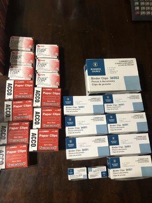 Large lot binder clips & paper clips for Sale in Denver, CO