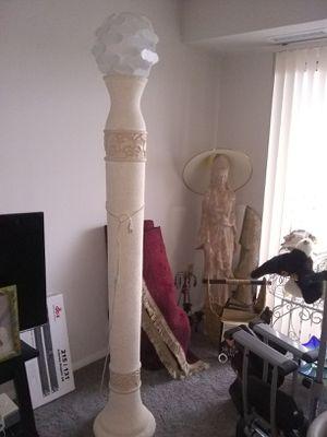 Tall plaster floor lamp plastic shade for Sale in Alexandria, VA