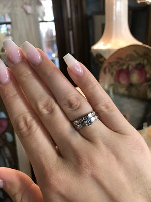 14K gold two rings wedding engagement set natural diamonds ring for Sale in Fresno, CA