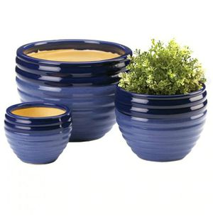 Blue Two-Tone 3 PC Ceramic Planter Set for Sale in Holly Hill, FL