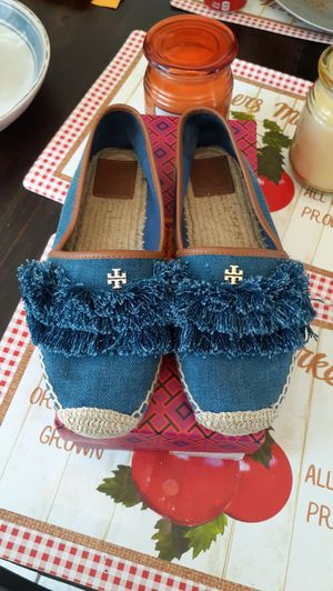 Tory Burch-Shaw Denim Fringe Espadrilles, Size 7.5-EUC for Sale in Chula Vista, CA