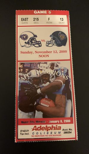2000 Tennessee Titans vs Baltimore Ravens Ticket NFL for Sale in Franklin, TN