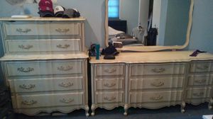 Wood dresser, chest, mirror and night stand antique for Sale in Long Branch, NJ