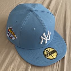 Sky Blue New York Yankees Fitted Hat 1999 World Series With Pink Brim for Sale in New York,  NY