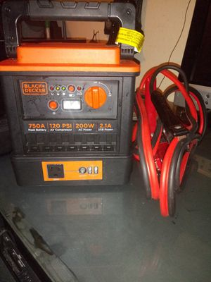 Black+decker 750ajump power box andjump cables for Sale in Portland, OR