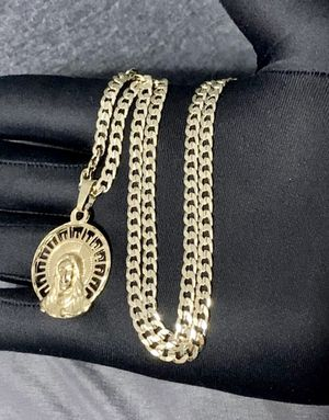 Concave Curb Cuban Link GOLD LAYERED 5mm Necklace 24inches In length with Jesus head 2 charm for Sale in Belle Isle, FL