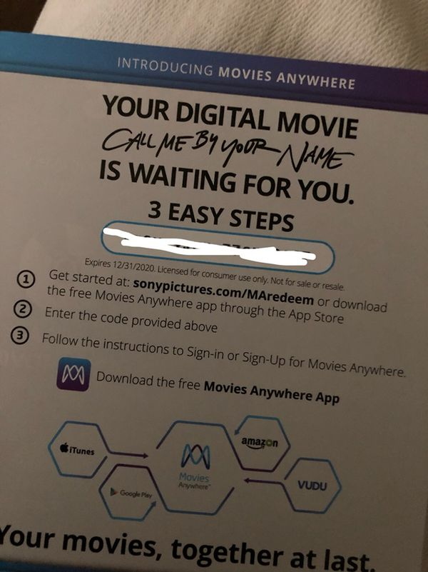 Call Me by Your Name Digital Code for Sale in Whittier, CA - OfferUp