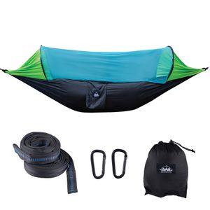 Camping Hammock with Mosquito Net & Tree Straps Lightweight Parachute Fabric Travel Bed for Hiking, Backpacking, Backyard - Black, Blue, Gray for Sale in Miami, FL