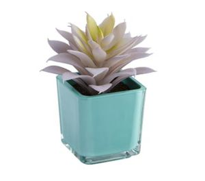 TWO Faux Mini Succulent in Blue Pot for Sale in West Chicago, IL
