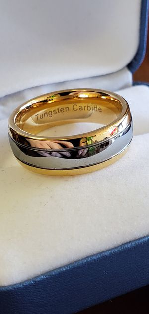 18K Gold Over Tungsten Carbide, Men's Wedding Band, Ring size 8, 10 & 12.5 for Sale in Portland, OR