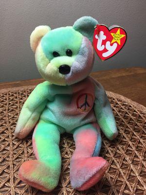 Peace bear tie dye beanie baby for Sale in Burlington, NJ
