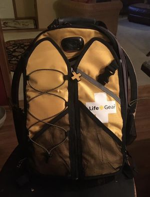 Life Gear Backpack..so cool, has tons of pockets, has items in each pocket, could be a life saver on a hiking, biking or camping trip, great to keep for Sale in Mapleton, IL