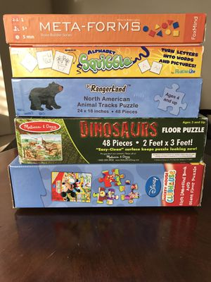 Kids age 3-5 game and puzzles bundle(5 items) for Sale in Bothell, WA