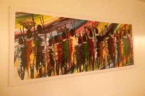 HUGE Mid Century Modern African Tribe Painting Mural * Artist Signed for Sale in Orlando, FL