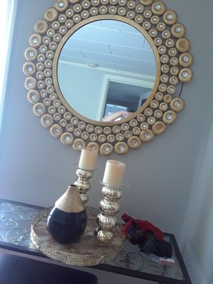 Golden mirror and candles holders with the vase for Sale in Portland, OR