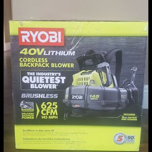 Brand new never used SEALED BOX RYOBI 145 MPH 625 CFM 40-Volt Lithium-Ion Cordless Backpack Blower 5 Ah Battery and Charger Included $$ 160 firm for Sale in Bakersfield, CA