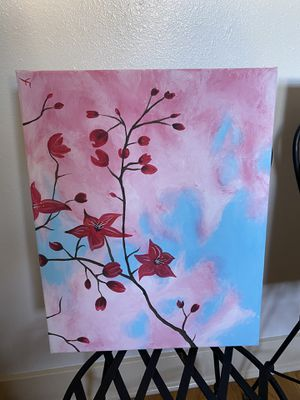 Hand painted flower with cotton candy sky. Pick up in Pasadena. for Sale in Pasadena, CA