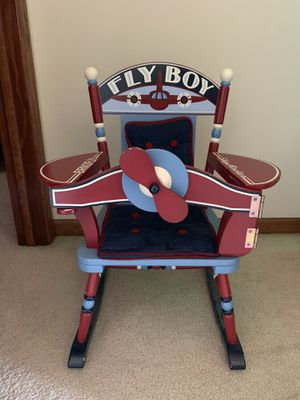 Fly Boy Airplane Kids Rocking Chair Red & Navy Blue for Sale in North Huntingdon, PA