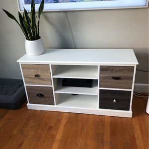 Beautiful White Console With Wood Cabinets for Sale in Norwood, MA