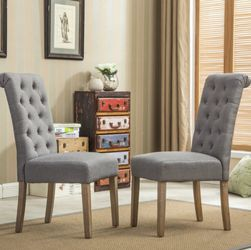 BRAND NEW  Roundhill Furniture Habit Solid Wood Tufted Parsons Dining Chair, Gray, Set of 2 Roundhill FurnitureModel: C161GY for Sale in Marietta, GA