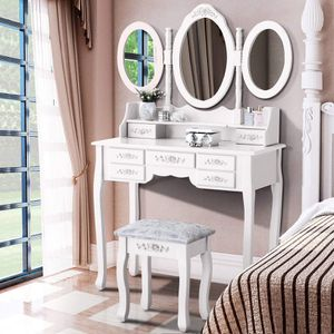 Vanity Makeup Dressing Table Set with 3 Mirrors and Stool Cushioned Bench for Sale in Houston, TX